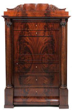 German Cabinet, burl flame veneer, 190cm H.