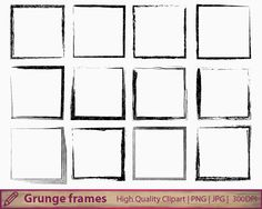 grunge frame clipart, distressed square frame clip art, scrapbooking, digital instant download, commercial use, jpg png 300dpi