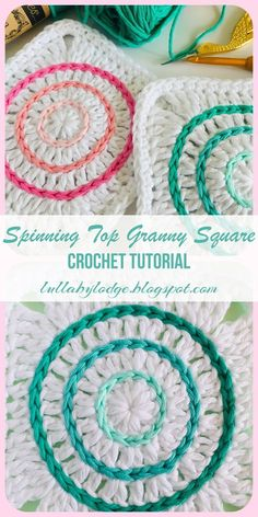 Spinning Top Granny Square & Free crochet tutorial& Learn how to surface crochet and make these pretty granny squares. A crochet tutorial by Lullaby Lodge& The post Spinning Top Granny Square & Free crochet tutorial& appeared first on Home. Crochet Motifs, Granny Square Crochet Pattern, Crochet Blocks, Crochet Blanket Patterns, Crochet Stitches, Knitting Patterns, Free Crochet Square, Crochet Square Blanket, Crochet Squares Afghan