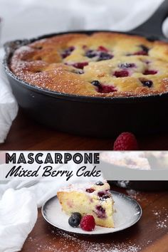Mascarpone Mixed Berry Cake - Wild Wild Whisk This Mascarpone Mixed Berry Cake is extremely soft and moist, bake it and serve it straight from the pan. It's excellent as a coffee cake for breakfast or as dessert with a scoop of ice cream on the side. Cake Mascarpone, Recipes With Mascarpone, Baking Recipes, Dessert Recipes, Chocolate Hazelnut Cake, Berry Cake, Breakfast Cake, Food Cakes, Savoury Cake