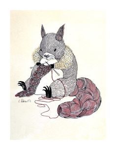 SOMEONE BUY ME THIS. PLEASEPLEASEPLEASEPLEASEPLEASE!!!!  Knitting Squirrel by SquirrelWitch on Etsy $20