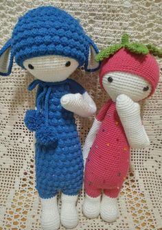 LUPO the lamb & ERNA the strawberry made by Gyeong Hwa Back / crochet patterns by lalylala