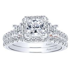 91f2983e859b 18k White And Rose Gold Princess Cut 3 Stones Halo Engagement Ring angle 4  Bridal Sets