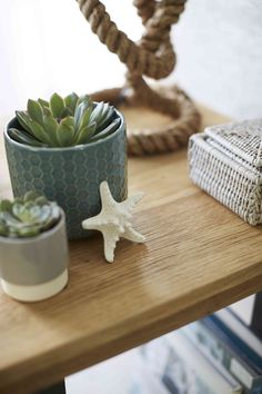 Mix and match ceramic, glass and wood accessories for an eclectic, pared back feel to the Scandi Seaside trend. Coastal Living, Natural Light, Seaside, Place Card Holders, Ceramics, Pure Products, Wood, Glass, Interior