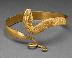 Egypt (under Greek influence) | Snake bracelet; gold and glass | 300 - 100 BC
