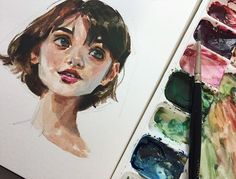 Photo study in gouache on Strathmore's 500 series mixed media paper The model in the photo ref has eyes that melt my heart but I couldn't quite get the likeness I'm happy with how the hair came out though, simple and not overly stated. Kunst Inspo, Art Inspo, Watercolor Mixing, Watercolor Paintings, Gouache Painting, Painting & Drawing, Eye Drawing Simple, Watercolor Illustration, Art And Illustration