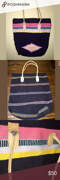 "ECOTE' ANTHROPOLOGIE Tribal Ethnic X-Large Woven ECOTE' ANTHROPOLOGIE Black & Multi-Colored Tribal Ethnic X-Large Woven Purse Bag Leather Handles Length 15"" Height 18"" Depth 4"" Strap drop10"" Condition is preowned. Has some flaws in the straps. Some are coming undone, I think they look easy to repair probably with some crazy glue or a few stitches, if you sew. No other damage on the bag itself. Not all straps have flaws. Please look at all the pictures carefully, I try to disclose every flaw…"