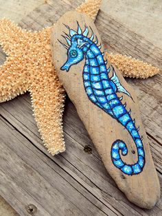 Whimsical SEAHORSE Hand Painted Stones Rock Art OCEAN Animals Spirit Guide Artwork Sea Creatures Driftwood ART Altar Tools Nature Paintings by LotusandNightshade on Etsy https://www.etsy.com/listing/512001148/whimsical-seahorse-hand-painted-stones