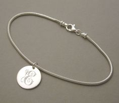 Items similar to Initial Charm Bracelet engraved personalized sterling silver inch round circle disc charm BRAC on Etsy Initial Bracelet, Initial Charm, Marsha Clark, Initials, Jewelery, Quinceanera Ideas, Charmed, Necklace Ideas, Sterling Silver