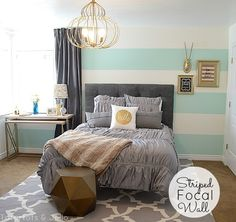 Striped Aqua, Grey and Gold Guest Bedroom Reveal — all the details!! - Tatertots and Jello