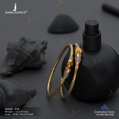 Kadli Bangles gms) - Fancy Jewellery for Women by Jewelegance Real Gold Jewelry, Fancy Jewellery, Gold Jewelry Simple, Hand Jewelry, Bridal Jewellery, Indian Jewelry, Gold Bangles Design, Gold Earrings Designs, Gold Jewellery Design
