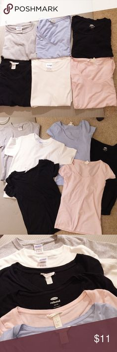 6 tees Size: XS/S, some are brand new, some are in good condition. Brand: Forever 21, H&M, Gildan, Old Navy H&M Tops Tees - Short Sleeve