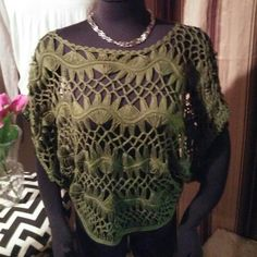 Knitted top! Pretty green knitted crop top or cover up size is medium. , great quality. Ma Intl? Fashion Tops Crop Tops