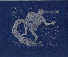 New to minouette on Etsy: Aquarius Constellation Linocut in Silver on Blue - Constellations of the Zodiac Collection Aquarius the Water Bearer Star Map USD) Aquarius Sun Sign, Aquarius Art, Aquarius Zodiac, Die Renaissance, Constellation Art, Water Bearer, Japanese Paper, Deities, Art Projects