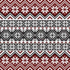 Free Norwegian Cross Stitch Patterns | Nordic traditional pattern with snowflakes, white, grey and red design ...