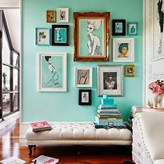 I like the way the art background matches the wall color - Daily Dream Decor Turquoise Walls, Light Turquoise, Aqua Blue, Turquoise Bedrooms, Turquoise Office, Light Teal, Mint Green, Interior And Exterior, Interior Design
