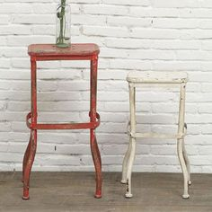 Weathered Metal Stools - Set of 2  Do I need one of these????  :D