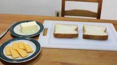Two thick slices of white bread next to a plate of cheese and butter. Perfect Grilled Cheese, Different Types Of Bread, Homemade White Bread, Grill Cheese Sandwich Recipes, Sweet Cornbread, Apple Fritters, Slice Of Bread, Melted Cheese, Cheddar Cheese