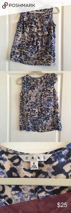 "CAbi Size Small Sleeveless Ruffle Top 100% Silk Women's CAbi Size Small Sleeveless Ruffle Top 18"" Across 25"" Length  100% Silk Style # 628 CAbi Tops Blouses"