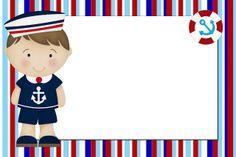 Menino Marinheiro Azul e Vermelho – Kit Completo com molduras para convites, rótulos para guloseimas, lembrancinhas e imagens! | Fazendo a N...