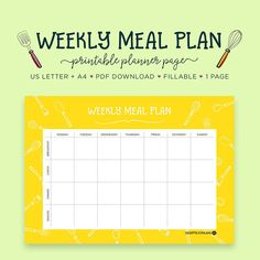 menu planner weekly organizer meal planner pages meal planning