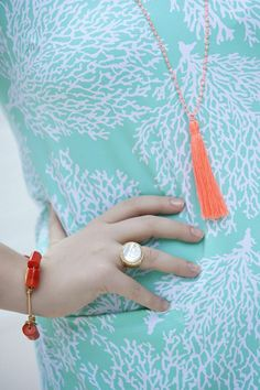 Mad for Coral & Mint-Coral and Caicos in @Persifor and my favorite zodiac ring by @Ashley Redfearn-Lea By ADM