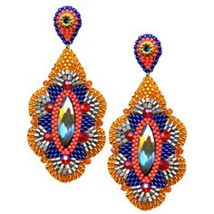 """Miguel Ases cobalt blue and orange earrings with rainbow quartz, E32601 3"""""""