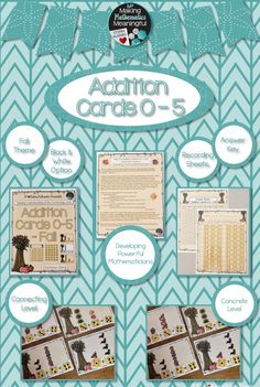 Addition activities for PreSchool, Kindergarten, First Grade, Grade Two, and Home School with strategies for differentiation and Math Centers.  Building understanding for the benchmark number 5.   https://www.teacherspayteachers.com/Product/Number-Sense-Addition-Cards-0-5-Fall-2829781?utm_source=pinterest&utm_campaign=fall17