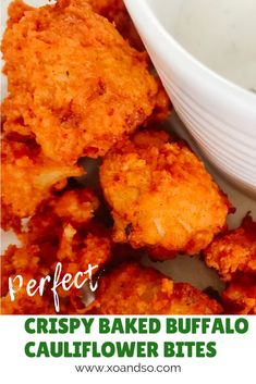 The Best Crispy Baked Buffalo Cauliflower Bites - XO&So My favorite way to eat these crispy baked buffalo cauliflower bites is by dipping them in ranch. Another way I love eating them is on top of a salad, and they also make a great taco filling! Vegetarian Taco Filling, Vegetarian Tacos, Vegetarian Recipes, Cooking Recipes, Healthy Recipes, Healthy Cauliflower Recipes, How To Cook Cauliflower, Vegetarian Appetizers, Baked Buffalo Cauliflower