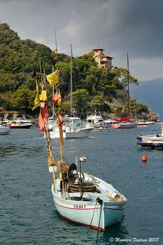 "Portofino, Liguria - This boat is called the ""Gozzo Ligure""."