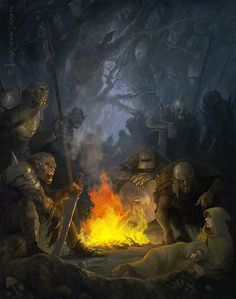 m Orc War Party w Captives at campsite forest hills Concept Art by Julia Alekseeva