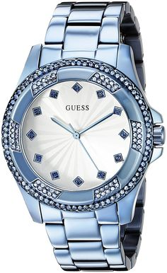 GUESS Women's U0702L1 Iconic Sky Blue Classic Stainless Steel Watch ** Want to know more, click on the image.
