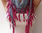 Blue Flowered Scarf with Pink Trim Edge - Summer Colors