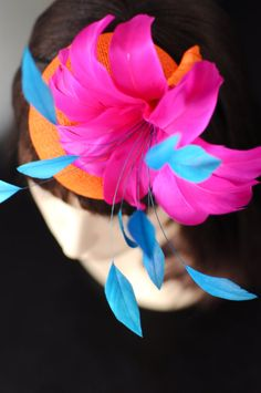 Orange and PInk Feather Flower Cocktail Hat by LiDDesignsBoutique, $135.00