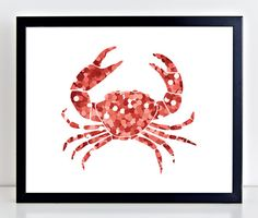 Colorful Red Confetti Crab Print, Bedroom or Bathroom Wall Decor, Instant Download
