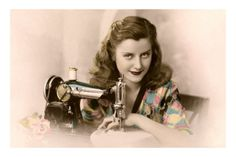 Sly Lady with Sewing Machine Premium Poster