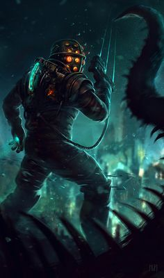I just wanted to share this BioShock/Dead Space crossover art because it's awesome. Link to artist's profile in the comments.