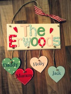 Personalised surname plaque.  Any number of hearts & colour way.  Made by Evie's Attic  Find us on Facebook <3