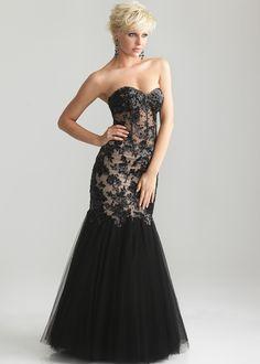 Night Moves 6709 - Black Strapless Mermaid Dress Prom Dresses Online #thepromdresses