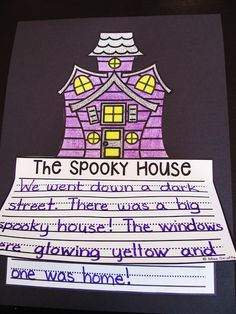 Mystery writing fun with this spooky house no prep writing craft - kids write a mystery then just color cut and glue for an instant bulletin board (October Writing Crafts for Kids) First Grade Writing, Kids Writing, Teaching Writing, Writing Activities, Craft Activities, Writing Ideas, Teaching Ideas, Writing Centers, Primary Teaching