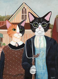 Peinture originale de l'Art populaire de chat par KilkennycatArt