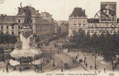 La place de la République vers la rue du Faubourg-du-Temple, vers 1900.