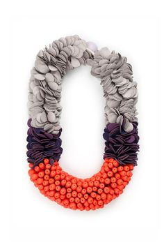 Polymer clay and leather neckpiece, - Emily Heath