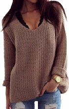 Women Brown Vintage Loose Casual Sweater Hollowed V-neck Long Sleeves Chandail