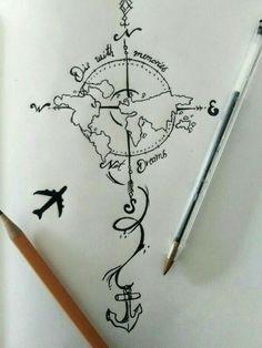 28 Ideas For Travel Drawing Compass Tattoo Designs Trendy Tattoos, Cool Tattoos, Tatoos, Diy Tattoo, Tattoo Art, Forearm Tattoos, Body Art Tattoos, Female Forearm Tattoo, Map Tattoos