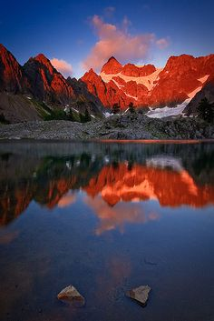Shuksans Glow, by Bryan Swan via Flickr. Sunset, North Cascades National Park, WA