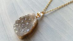 OOAK 1 Piece of Agate Druzy Geode Slice Pendant by CarmanGemsHouse