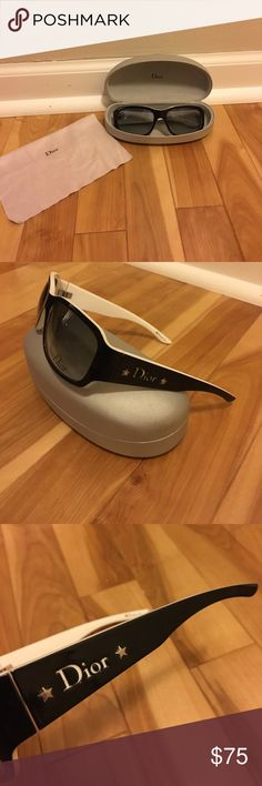 Dior Sunglasses These are *original* Dior sunglasses. Comes with glass case and cloth. Case has some defects on it, which are noted. The sunglasses look new with no scratches on the lenses and very little wear. Dior Accessories Sunglasses