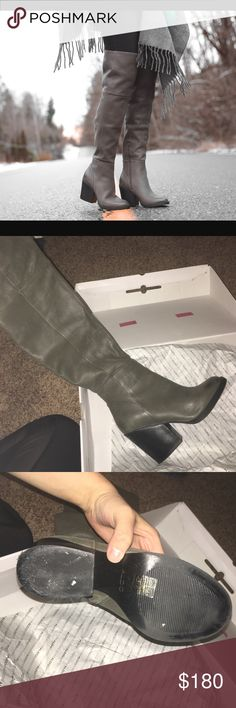 Like New Aldo Casine boot Like new only worn like 2 times! Khaki greenish color, and beautifully paired with denim,skirts,dresses or leggings. over the knee with block heel. was sold 8 right foot and 8.5 left foot. Aldo Shoes Over the Knee Boots