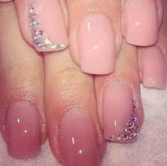 Simple Pink Nails With Rhinestones